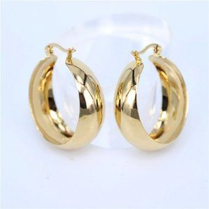 NEW 18K Yellow Gold 2'' Round Chunky Hoop Earrings